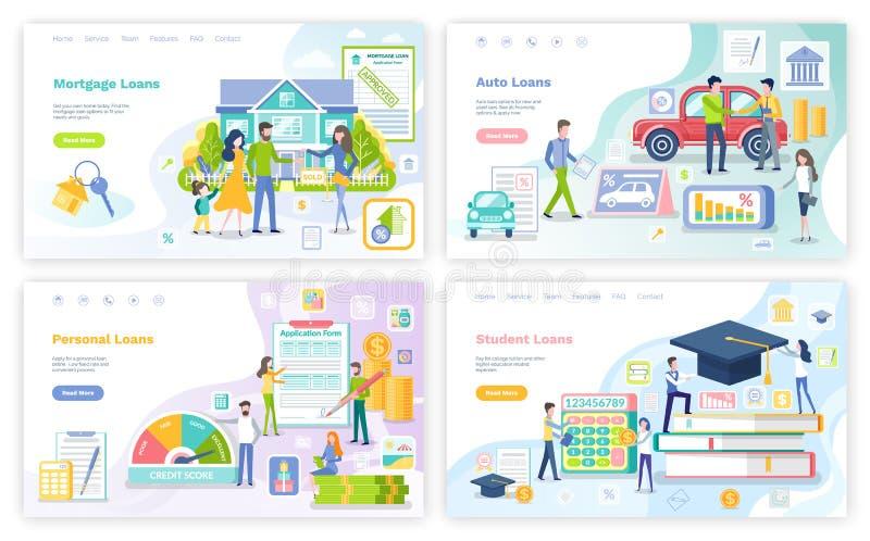 Hypotheek en Persoonlijke Lening, Student Money Set vector illustratie