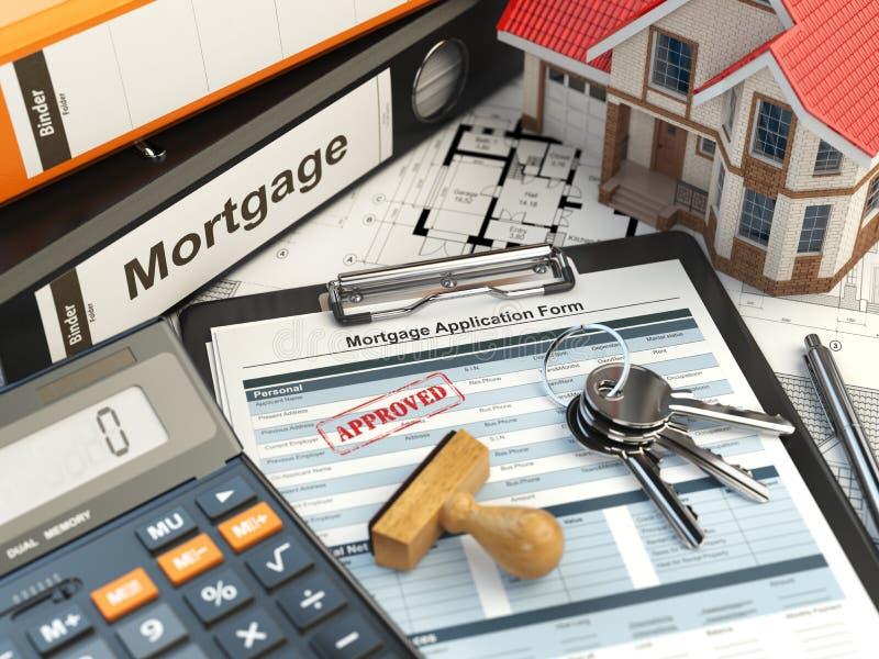 Hypothekenanmeldeformular mit dem Stempel genehmigt stock abbildung