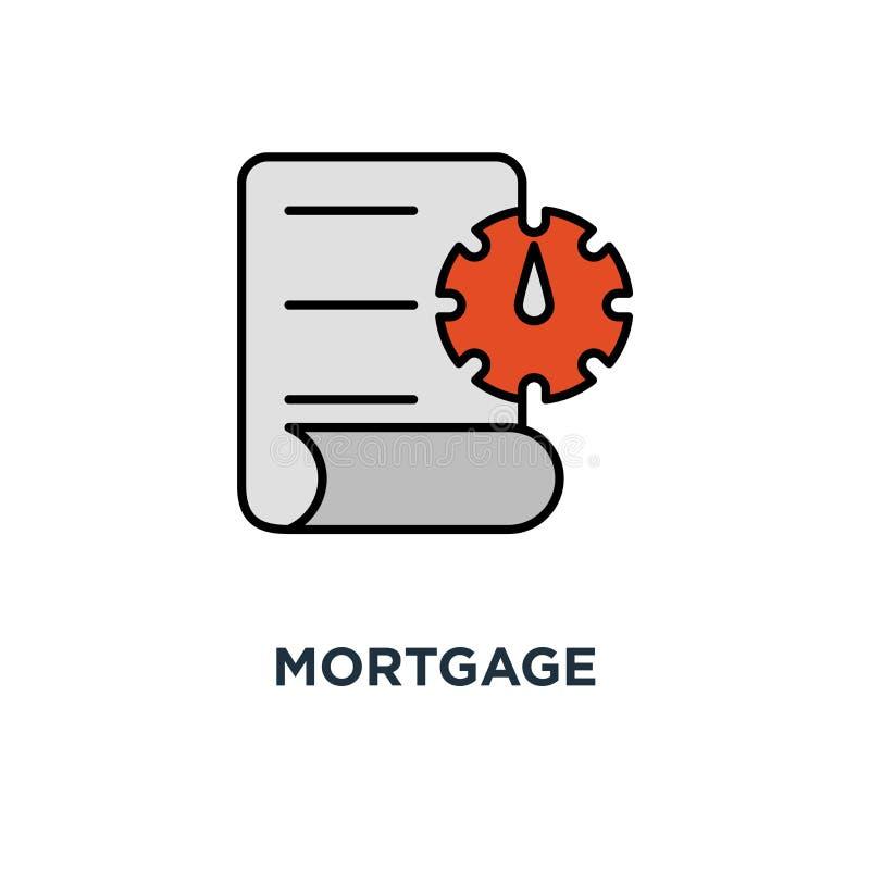 Hypothekenanmeldeformularikone Miethausvertragsschaffungskonzept-Symbolentwurf, Dokumentenbedingungen, Wohnungsbaudarlehen lizenzfreie abbildung
