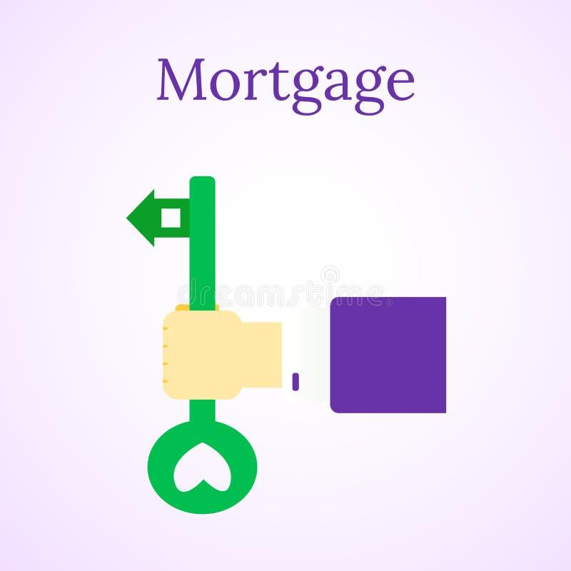 Hypothekendarlehenikone Hauskauf Real Estate-Illustration Haus und Taste Leuteh?nde Regenbogen und Wolke auf dem blauen Himmel vektor abbildung