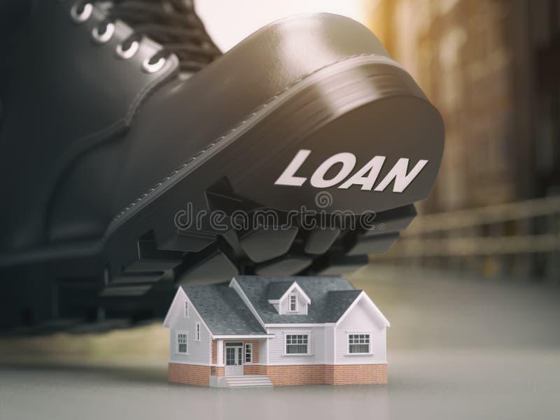 Hypothekenhausdarlehens-Krisenkonzept Gerichtliche Verfallserklärung und Wiederinbesitznahme stock abbildung