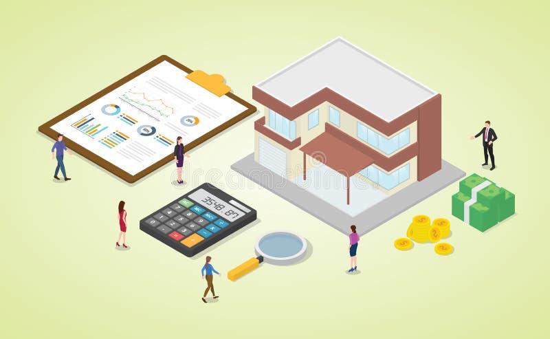 Hypothekenrechner mit Team-Mitarbeitern und Haus mit etwas Geld und Grafik-Chart-Berechnung mit isometrischem, modernem Flachstil stock abbildung