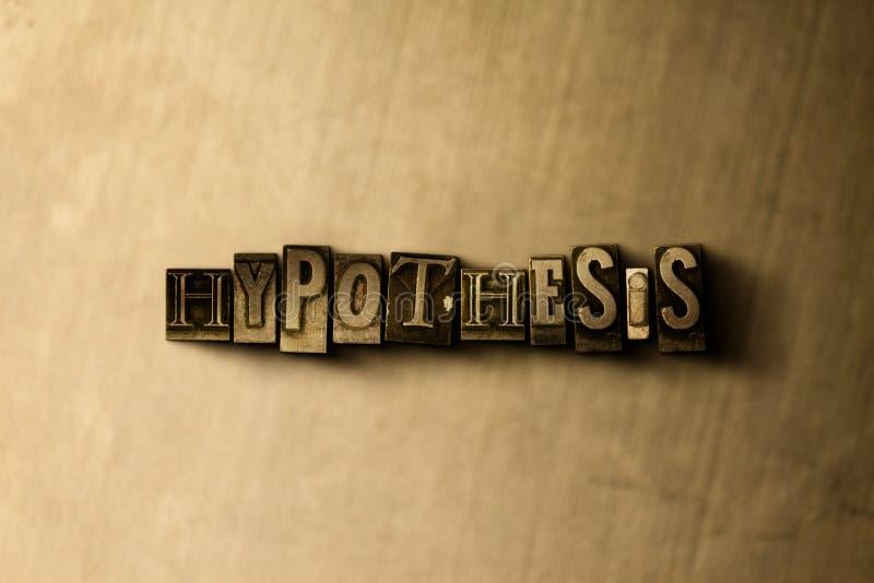 HYPOTHESE - close-up van grungy wijnoogst gezet woord op metaalachtergrond vector illustratie