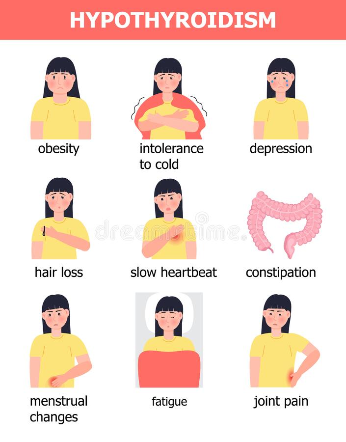 Hypothyroidism Symptoms Stock Illustrations – 37 Hypothyroidism ...