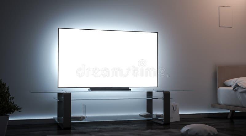 Hyr rum den vita tvskärmen för mellanrumet inre i mörkermodell royaltyfri bild