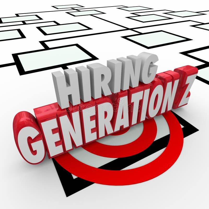 Hyra för ungdomarför utveckling Z det Org för arbetare anställda diagrammet stock illustrationer