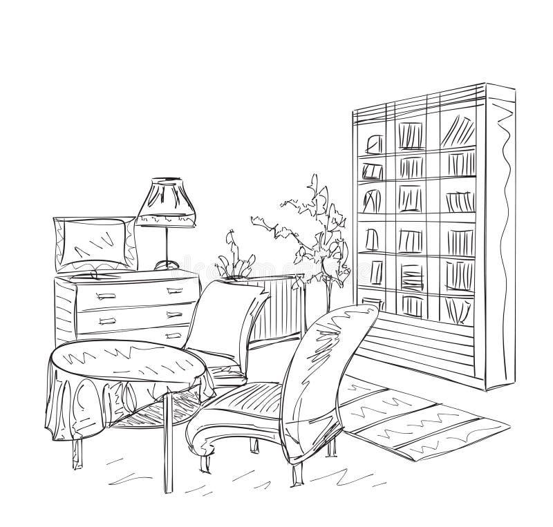 Hyra rum inre, med att bordlägga för soffa och för bok stock illustrationer