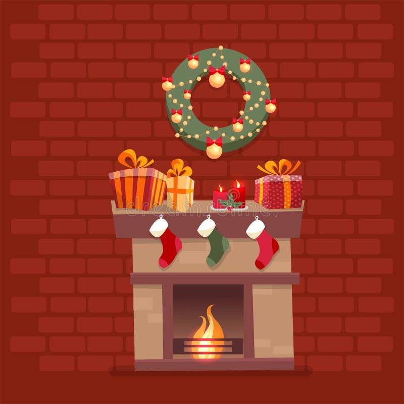 Hyra rum inre med julspisen med sockor, garneringar, gåvaaskar, candeles, sockor och kransen på bakgrund av ett mörkt - rött royaltyfri illustrationer