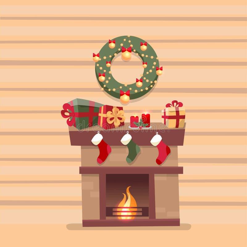 Hyra rum inre med julspisen med sockor, garneringar, gåvaaskar, candeles, sockor och kransen på bakgrund av ett trä stock illustrationer
