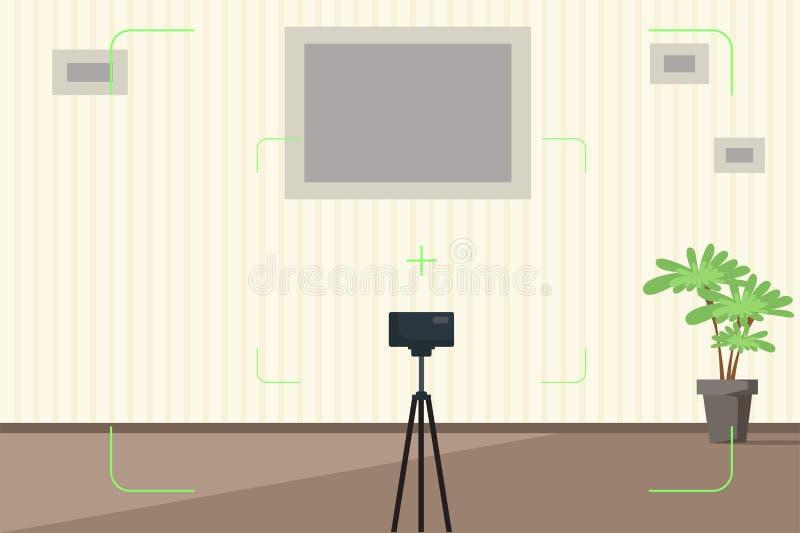 Hyra rum inre med kamerasökareillustrationen royaltyfri illustrationer