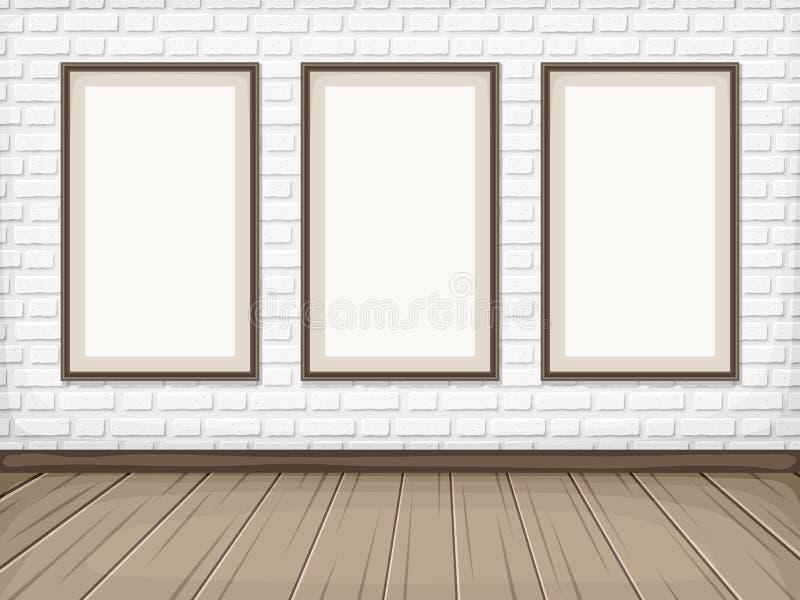 Hyra rum med den vita tegelstenväggen, trägolvet och mellanrumsramar Vektor EPS-10 vektor illustrationer