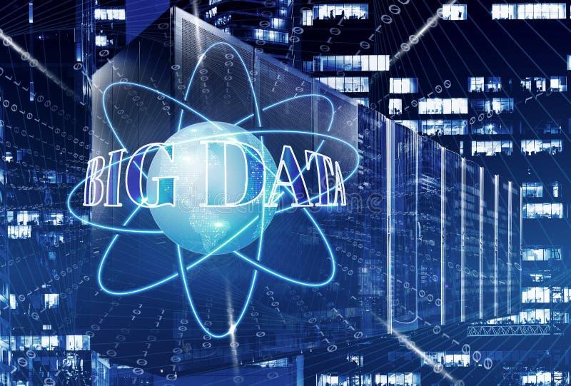 Hyra rum med rader av servermaskinvara i datorhallvärldsjordklotet på blått Anslutningar för globalt nätverk, royaltyfri illustrationer