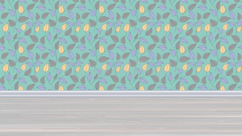 Hyra rum med tapeten med färgrika sidor på väggen, trägolv med plankor Horisontalinre, illustration 3D stock illustrationer