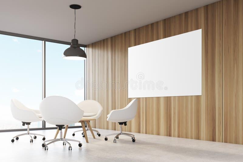 Hyra rum med träväggar, stort panorama- fönster en svart taklampa som hänger ovanför en kaffetabell royaltyfri illustrationer