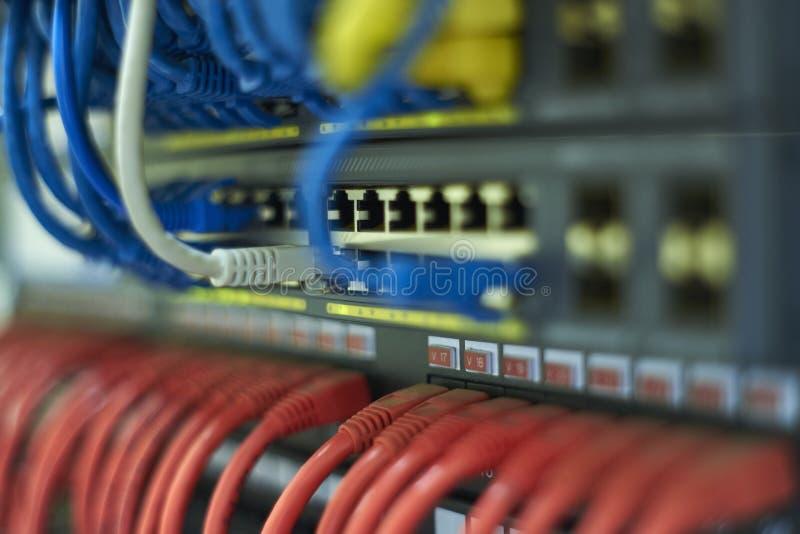 Hyra rum sammanlänkningen, sammankopplade kablar, kategori 6, strömbrytare, och routers i kommunikationerna hyr rum royaltyfri bild