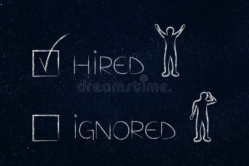 Hyrd eller ignorerad multiple med lyckliga och ledsna kandidater stock illustrationer