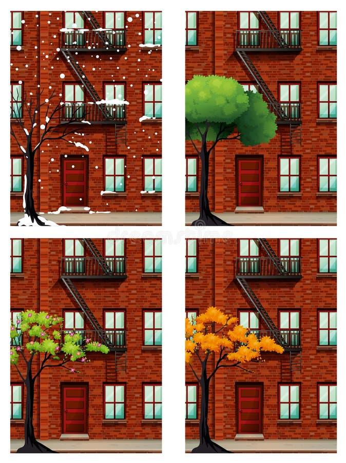 Hyreshus i fyra säsonger stock illustrationer