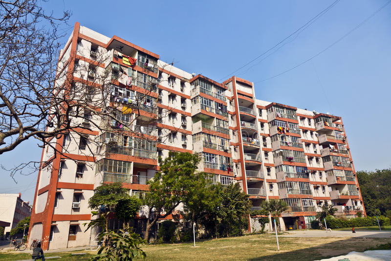 Hyreshus i i stadens centrum Delhi royaltyfri foto