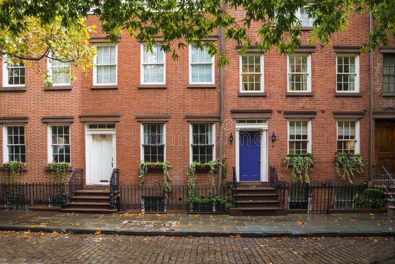 Hyreshusar för Greenwich by, New York City arkivbild
