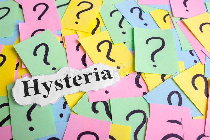 Hysteria Syndrome text on colorful sticky notes Against the background of question marks.  stock image