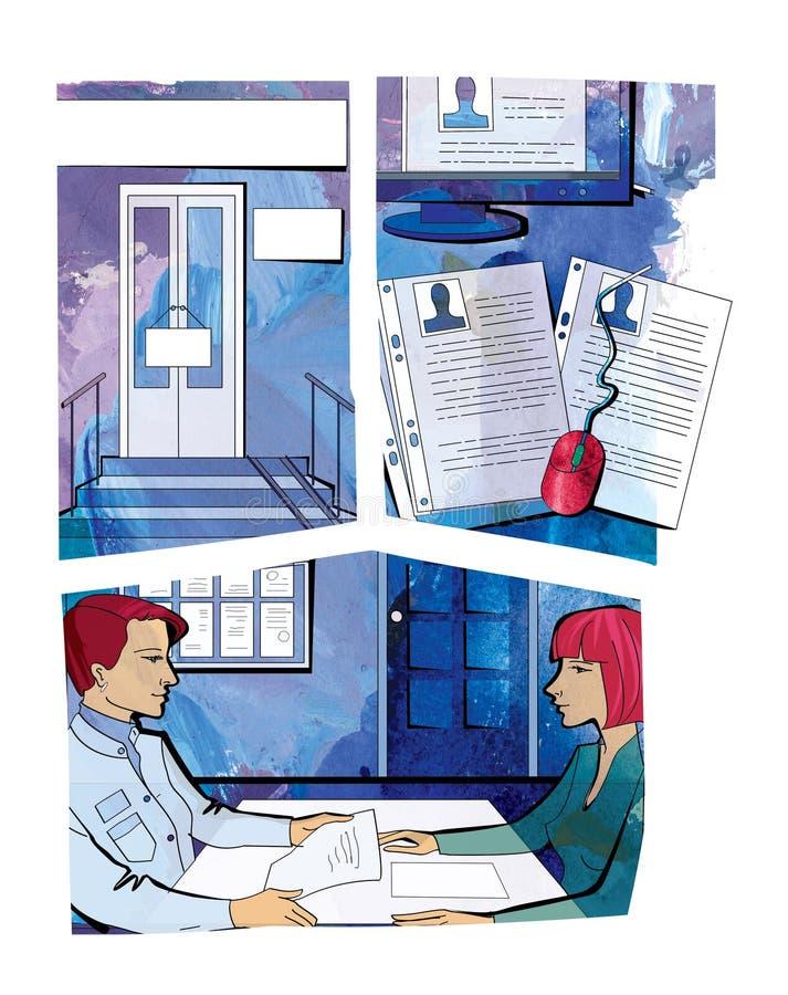 Собеседование для приема на работу Входная дверь с металлическими пластинками Файлы и монитор с личными делами работников 2 женщи иллюстрация вектора