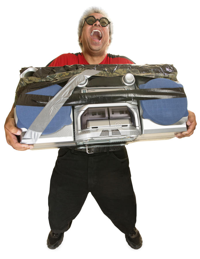 Hysterical Man with Boom Box. Hysterical man with sunglasses and taped boom box stock image