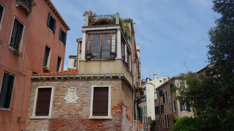 Hystorical houses in Venice stock images