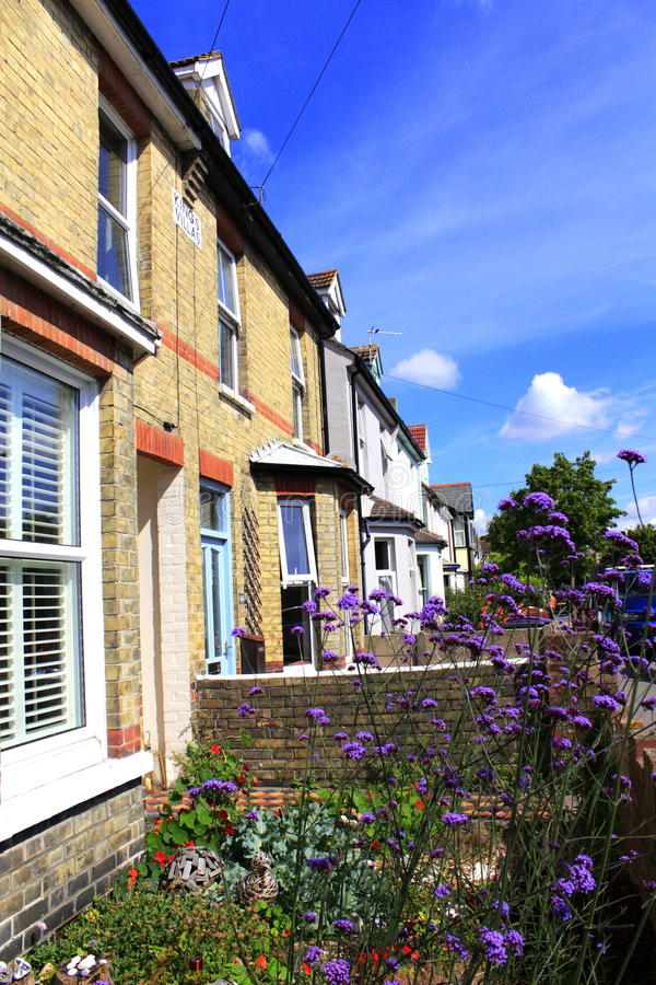 Hythe town houses Kent England. Row of traditional terraced residential houses Hythe town on nice summer day Kent England United Kingdom royalty free stock images