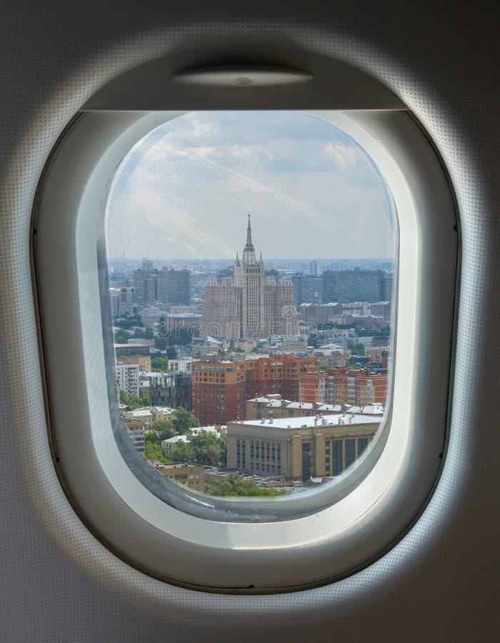 Hyttventil och flyg- sikt av Moskva royaltyfria foton