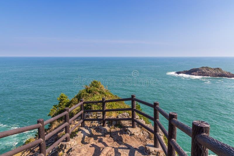 Hyuga海角美好的海岸线在宫崎,九州 库存照片