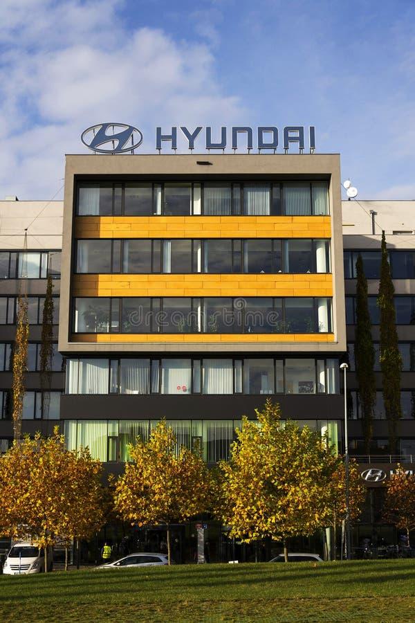 Hyundai company logo on Czech headquarters stock image