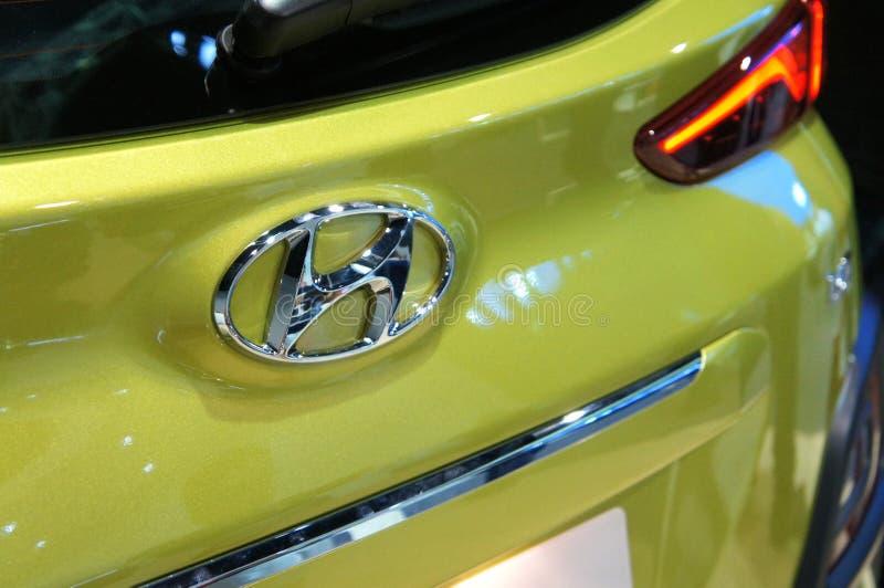 HYUNDAI-embleem en emblemen van het auto de het commerciële merk royalty-vrije stock afbeelding
