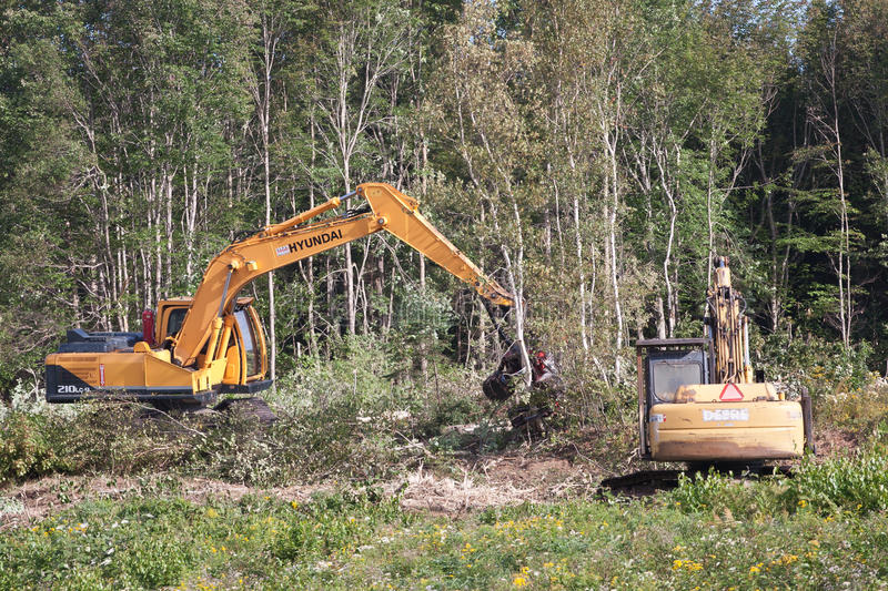 Hyundai Excavator. ENFIELD, CANADA - SEPT 18, 2014: Hyundai R210LC-9 processor clearing forest near Enfield, NS. Hyundai is a leading manufacturer of Hydraulic stock photography