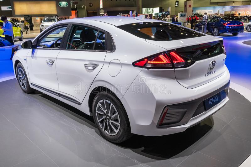 Hyundai Ioniq electric on display during Los Angeles Auto Show stock photography