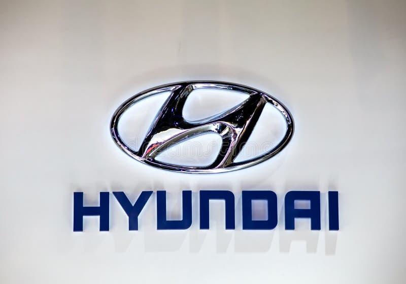 HYUNDAI Logo. In The 9th China(Guangzhou) International Automobile Exhibition,Guangzhou City,China,November,27th,2011