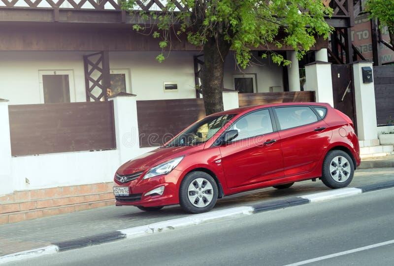 Hyundai rosso Solaris immagine stock libera da diritti