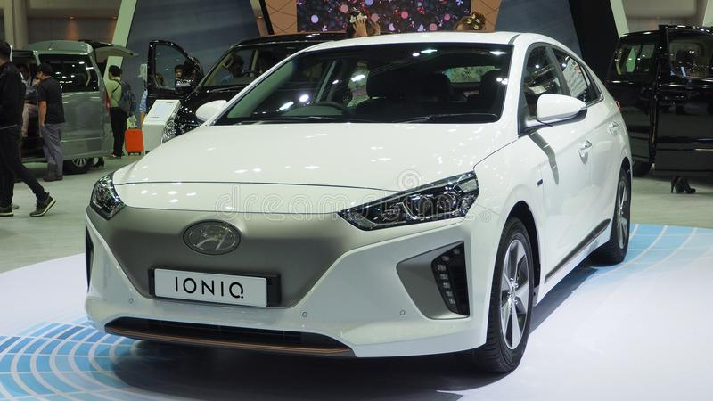 Hyundai totalmente eléctrico Ioniq en la 34ta expo 2017 del motor fotos de archivo