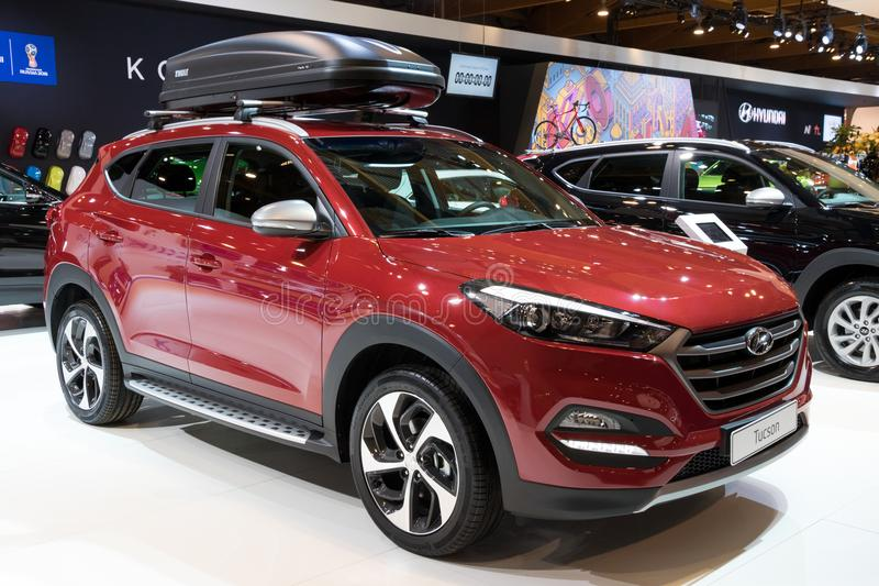 Hyundai Tucson compact crossover SUV car. BRUSSELS - JAN 10, 2018: Hyundai Tucson compact crossover SUV car showcased at the Brussels Motor Show royalty free stock photos