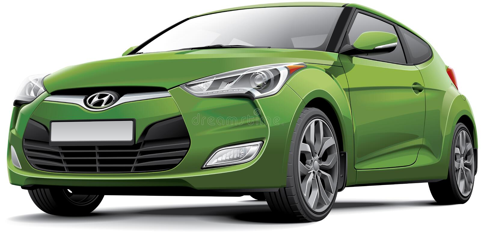 Hyundai Veloster. High quality photorealistic illustration of Korean compact kammback - Hyundai Veloster, isolated on white background. File contains gradients