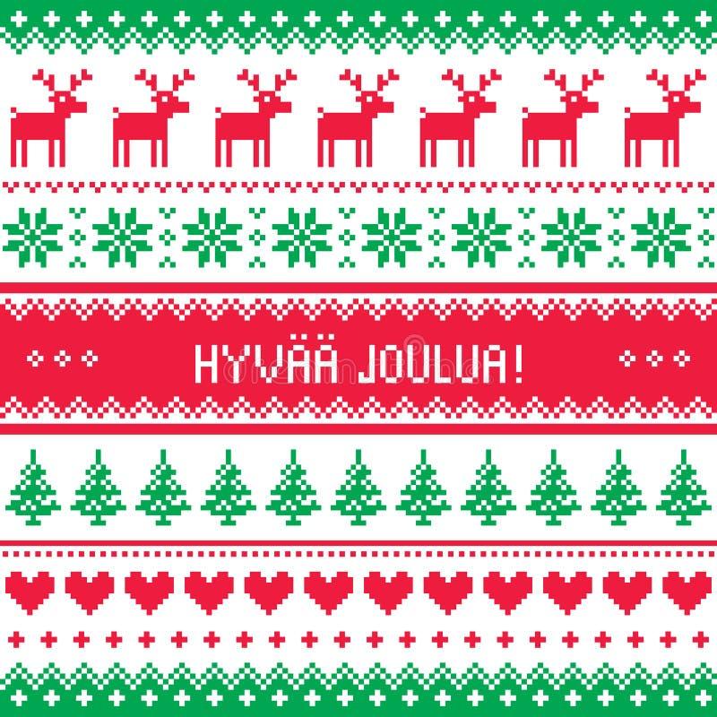 Hyvaa Joulua贺卡-在芬兰语的圣诞快乐 皇族释放例证