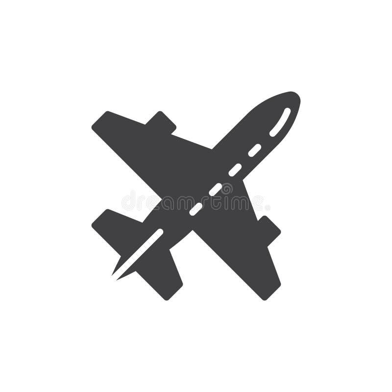 Hyvla flygplansymbolsvektorn, det fyllda plana tecknet, den fasta pictogramen som isoleras på vit royaltyfri illustrationer