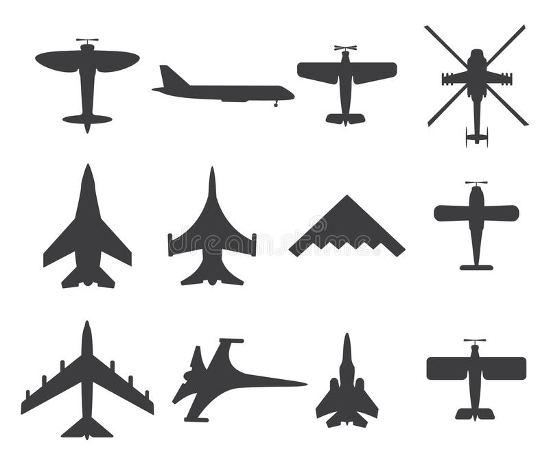 Hyvlar symboler, uppsättning på vit bakgrund stock illustrationer