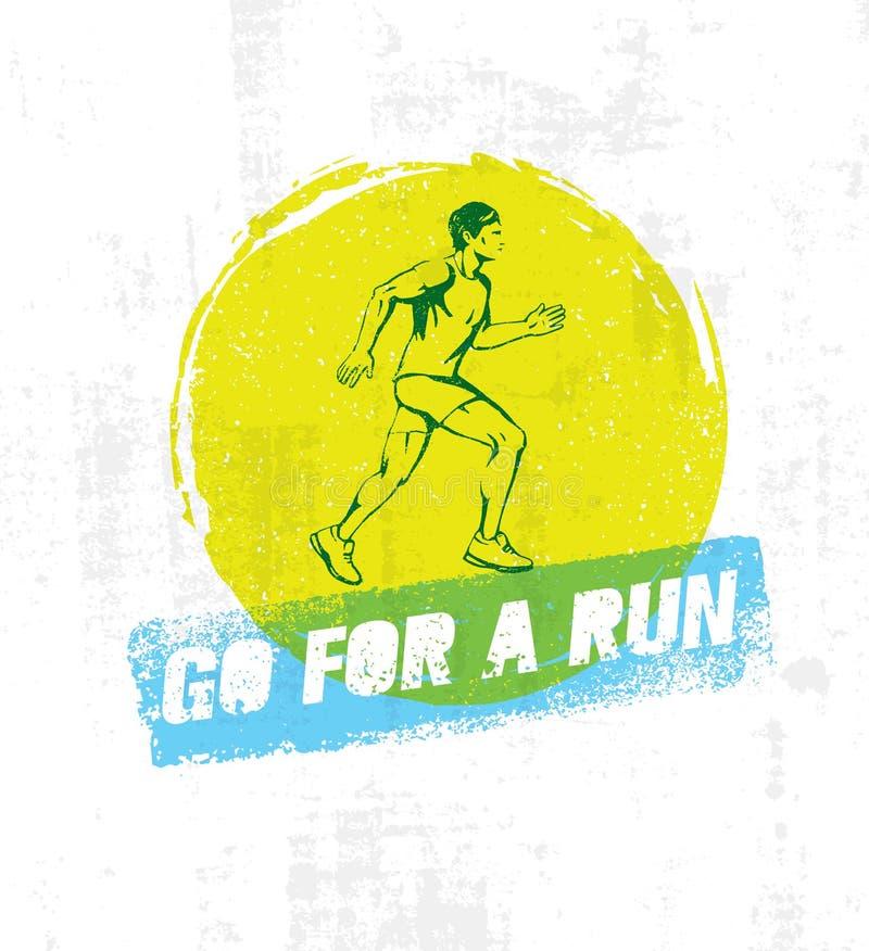 Iść Dla A bieg Sport motywaci projekta Wektorowy element Na Grunge muśnięcia tle Działająca mężczyzna ilustracja ilustracji