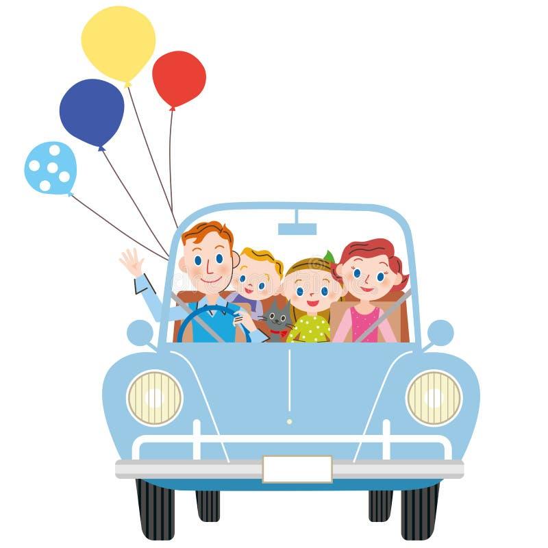 Iść dla przejażdżki w rodzicu i dziecku ilustracja wektor