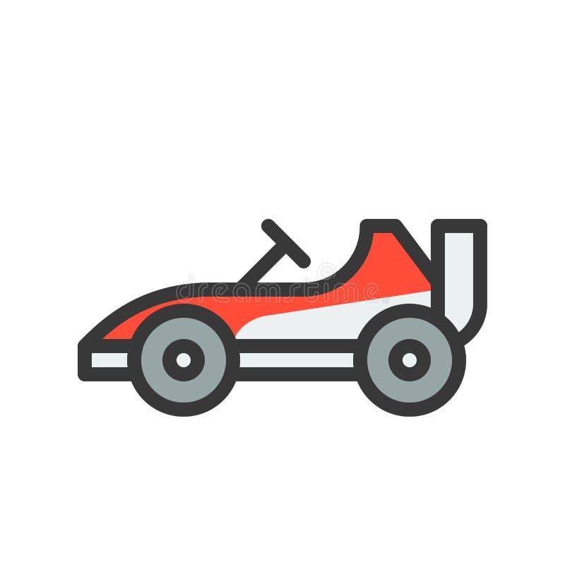 Iść karta lub Bieżny samochód wektorowa ikona, wypełniający konturu styl editable ilustracji