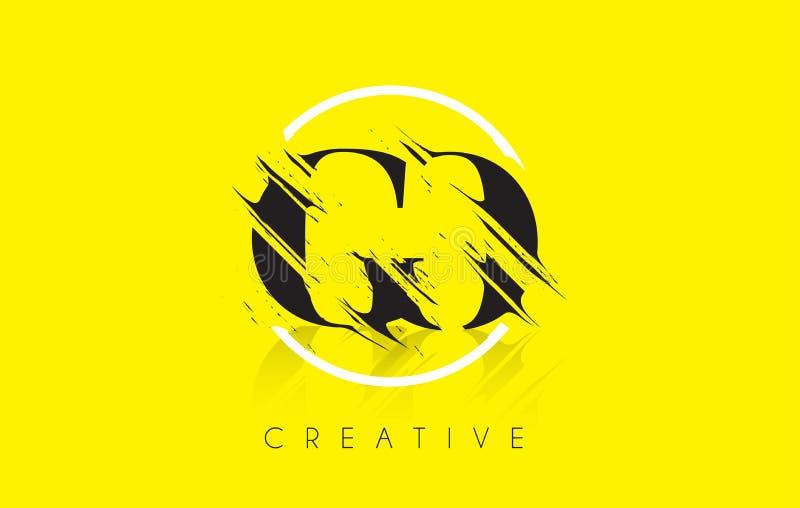 IŚĆ Listowy logo z rocznika Grundge rysunku projektem Zniszczony Cu ilustracja wektor