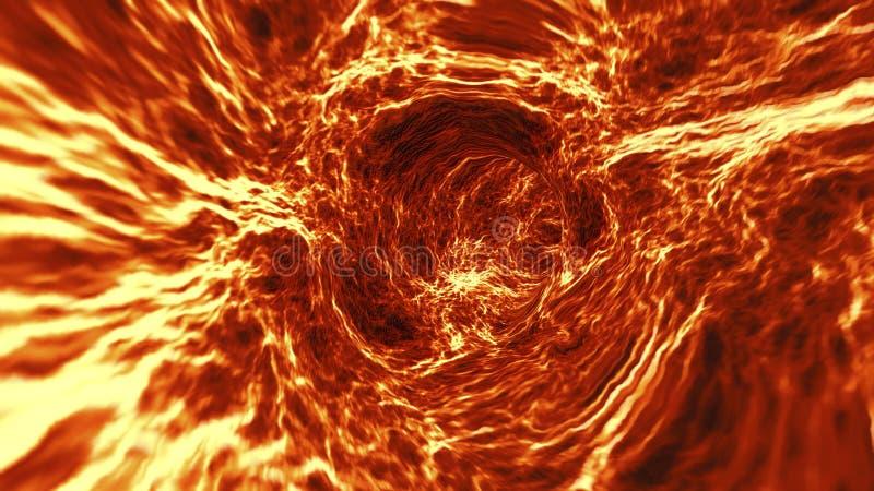 Iść przez abstrakcjonistycznego płonie lawowego tunelu lub vortex ilustracja wektor
