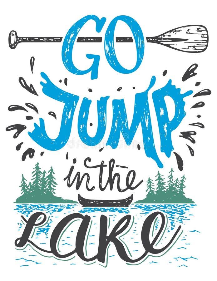 Iść skok w jeziornym domowym wystroju znaku