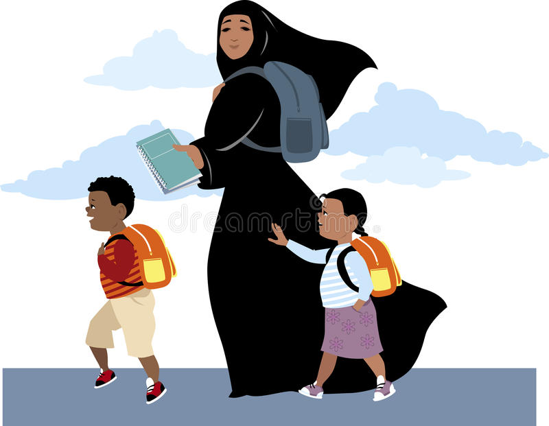 Iść szkoła wpólnie ilustracja wektor