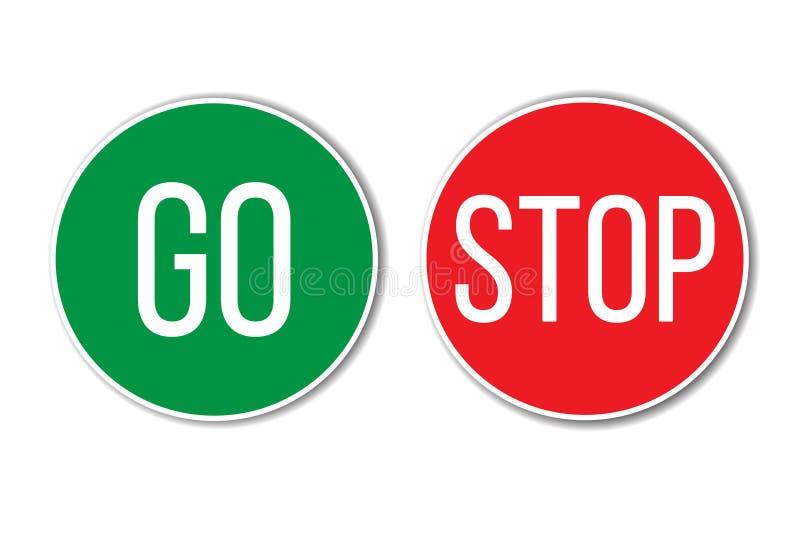 IŚĆ ZATRZYMYWAĆ czerwień zielony lewicy dobra słowa tekst na guzikach jednakowych ruch drogowy podpisuje wewnątrz pustego białego ilustracja wektor